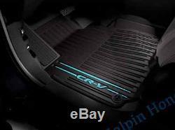 2017 2020 Genuine OEM Honda CR-V Black/Blue All Season Floor Mat Set