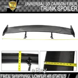 56 Inch Universal GT JDM 3D Carbon Fiber CF Rear Racing Trunk Spoiler Wing Deck