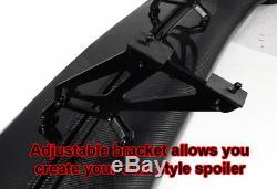 57 Inch GT Wing Span Spoiler Adjustable ABS GT JDM Black Rear Trunk Spoiler Wing