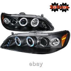 FOR Honda Accord 98-01 2/4 Dr 4cy V6 Black Projector Halo LED Headlights Inspire