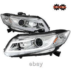 FOR Honda Civic 12-15 FA FG Coupe Sedan LED DRL Projector Chrome Headlights