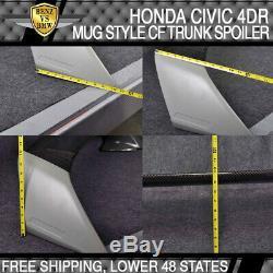 Fit 06-11 07 08 Honda Civic 4Dr Rear Trunk Spoiler Wing Carbon Fiber Mugen Style