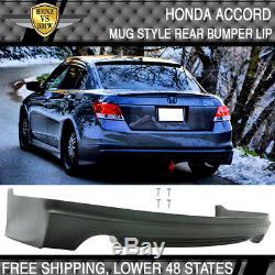 Fits 08-12 Honda Accord Mugen Style Rear Bumper Lip Unpainted PU Polyurethane