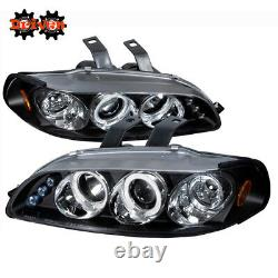 For 92-95 Honda Civic 2/3 Door Black Projector Headlights Dual Halo DRL LED