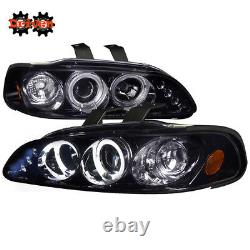 For 92-95 Honda Civic 2/3 Door Smoked Tinted Projector Headlights Halo LED DRL