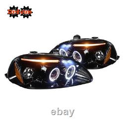 For 96-98 Civic Halo Projector Headlights LED DRL Black Housing Smoked Lens